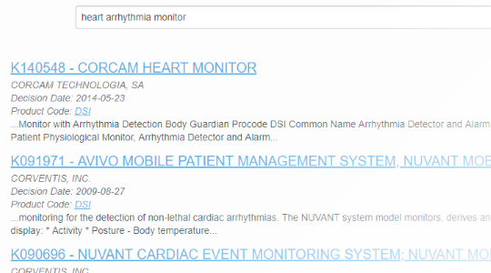 Search heart arrhythmia monitor results